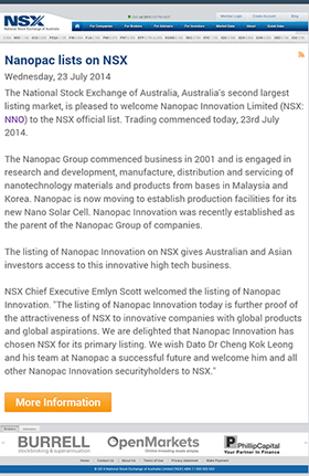 Nanopac Innovation lists on the NSX (National Stock Exchange of Australia)